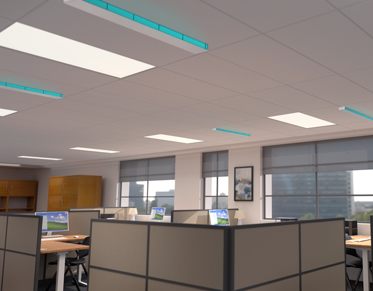 Safeology Series R Upper Room UVC Linear Recessed Fixture | Model SRLR image in office setting