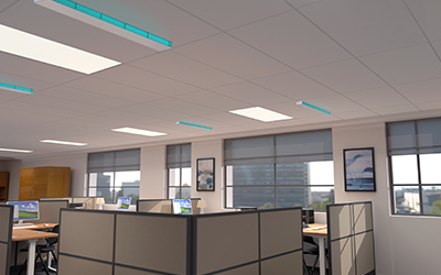 UVC Upper Room Linear Recessed Fixture in Office