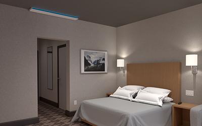 UVC Upper Room Linear Wall Fixture in Hotel Room