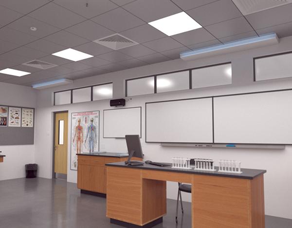 UVC Upper Room Linear Wall Fixture setting in classroom