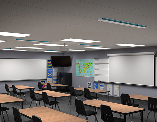 UVC Upper Room Linear Recessed Fixture in classroom setting