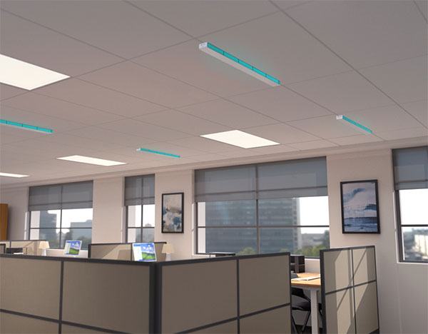 UVC Upper Room Linear Recessed Fixture in office setting