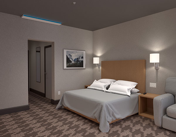 UVC Upper Room Linear Wall Fixture in hotel setting